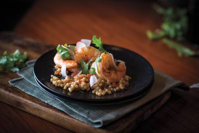 Wood-roasted prawns
