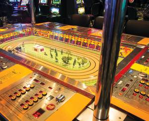 The downtown property is the only one in town to offer the old-school horse-racing game.